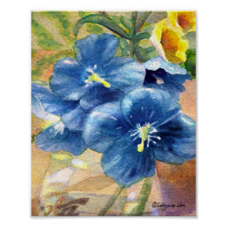 Blue Poppy Watercolor Close U Poster