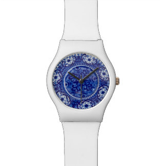 Blue Porcelain Pattern - Custom RetroFlat Watches