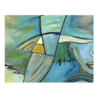 Blue Portrait Postcards of a Woman Painting