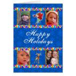 Blue Portrait Template Christmas Card