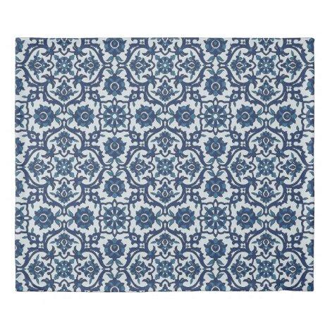 Blue Portuguese Azulejos Floral Tile Pattern Duvet Cover