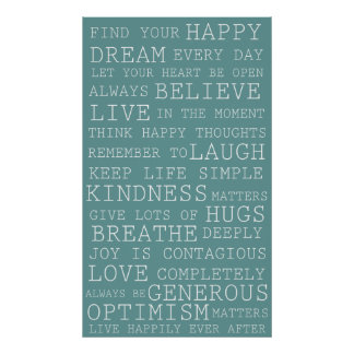 Blue Positive Thoughts Inspirational Words Print