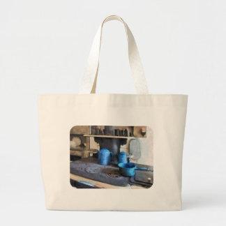 Blue Pots on Stove Canvas Bags