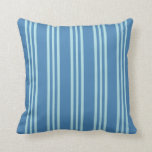 [ Thumbnail: Blue & Powder Blue Colored Striped/Lined Pattern Throw Pillow ]