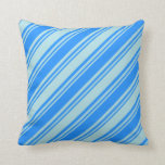 [ Thumbnail: Blue & Powder Blue Lined/Striped Pattern Pillow ]