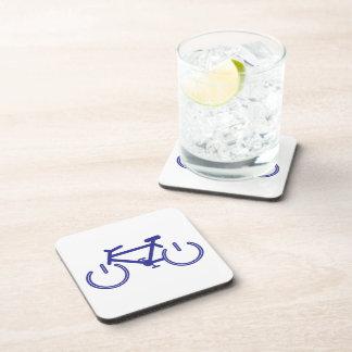 Blue Power Bike with White Rims Beverage Coaster