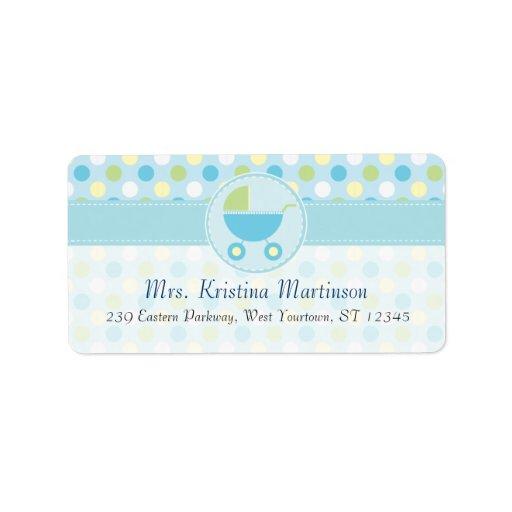 Blue Pram and Polka Dots Address Label