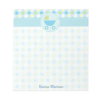 Blue Pram and Polka Dots Notepad