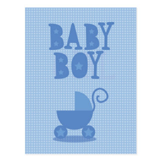 Blue pram BABY BOY from wicked greetings Postcard
