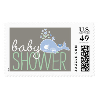 Blue Pregnant Mommy Whale Boy Baby Shower Postage