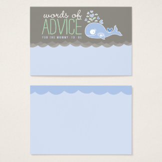 Blue Pregnant Whale Baby Shower Mommy Advice Cards