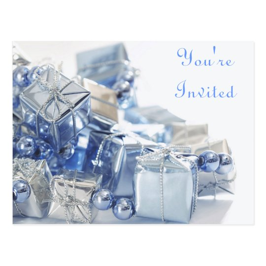 Blue Presents and Pearls Postcard