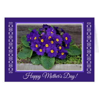 Blue Primula Flowers Mother's Day Card