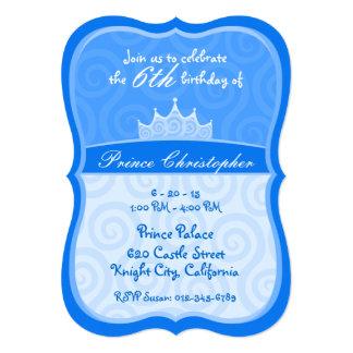 Blue Prince Crown Spirals Birthday 5x7 Paper Invitation Card