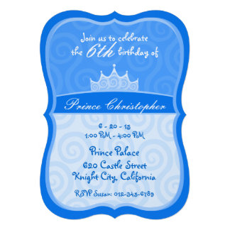 Blue Prince Crown Spirals Birthday Personalized Invitation