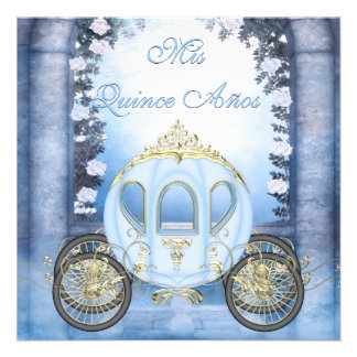 Blue Princess Carriage Enchanted Quinceanera Announcements