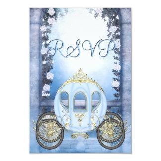 Blue Princess Carriage Enchanted RSVP 3.5x5 Paper Invitation Card