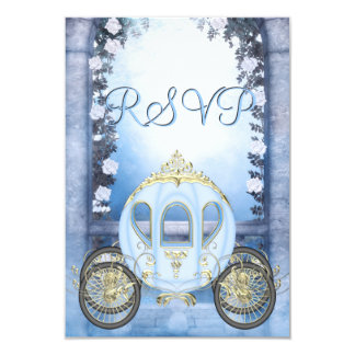 Blue Princess Carriage Enchanted RSVP Card