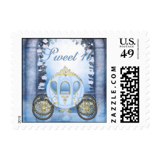 Blue Princess Carriage Enchanted Sweet 16 Postage
