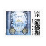 Blue Princess Carriage Enchanted Sweet 16 Postage Stamp
