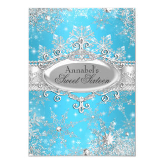 Blue Princess Winter Wonderland Sweet 16 Invite
