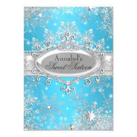 Blue Princess Winter Wonderland Sweet 16 Invite 4.5