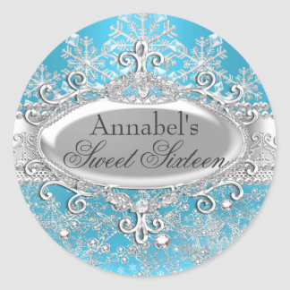 Blue Princess Winter Wonderland Sweet 16 Sticker