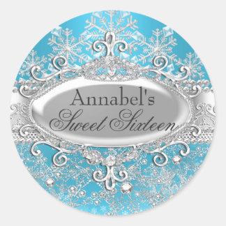 Blue Princess Winter Wonderland Sweet 16 Sticker
