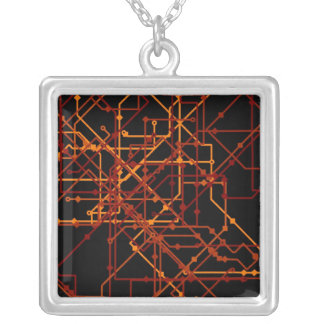 Blue Print Grid Silver Plated Necklace
