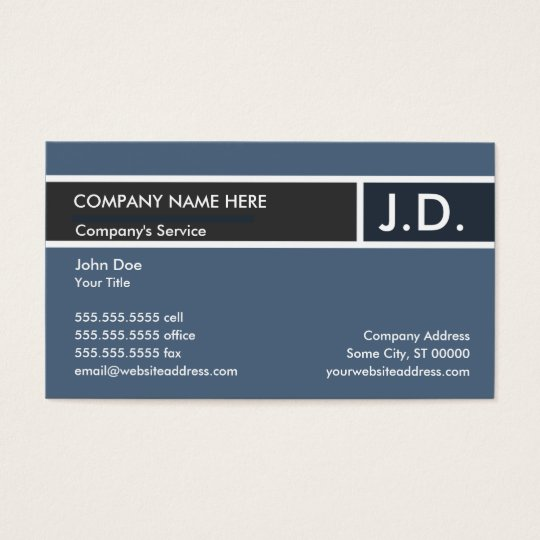 blue professional initials business card