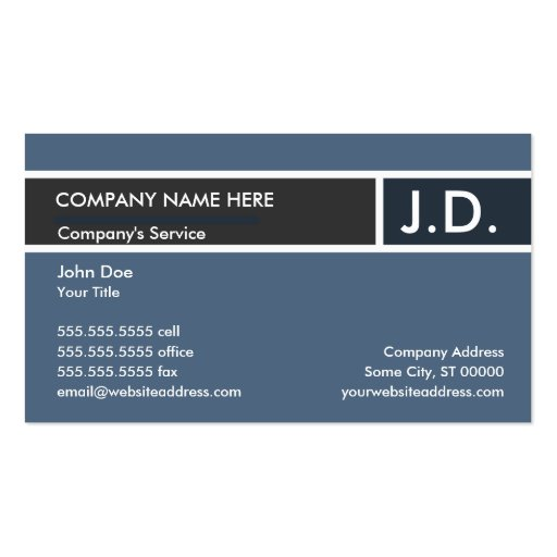 blue professional : initials business cards
