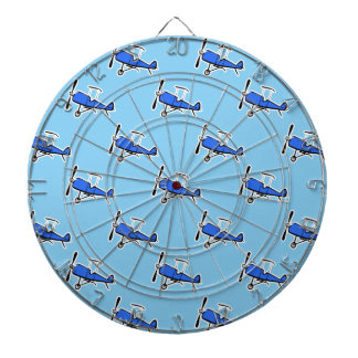 Blue Prop Biplane; Small Plane, Airplane Pattern Dartboard