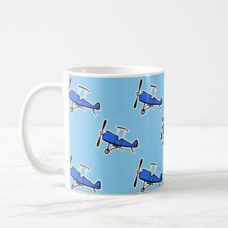 Blue Prop Biplane Small Plane Airplane Pattern Coffee Mugs