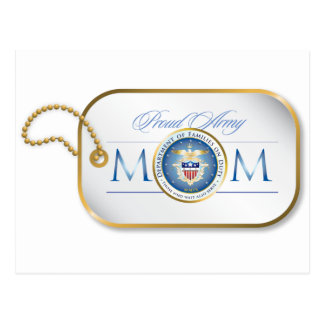 Blue Proud Army Mom Dog Tag Postcard