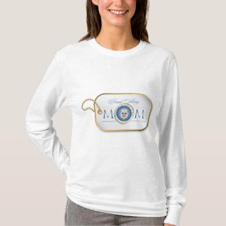 Blue Proud Army Mom Dog Tag T-Shirt