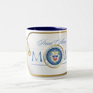 Blue Proud Army Mom Dog Tag Two-Tone Coffee Mug