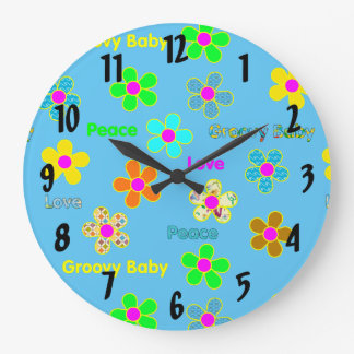 Blue Psychedelic 60s Groovy Flowers Pattern Large Clock