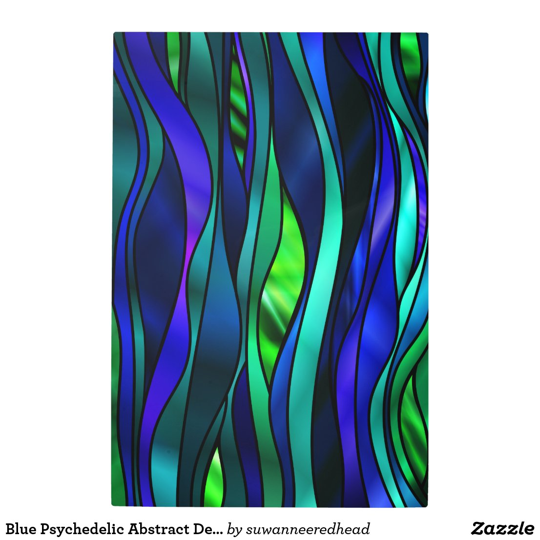 Blue Psychedelic Abstract Design Metal Photo Print