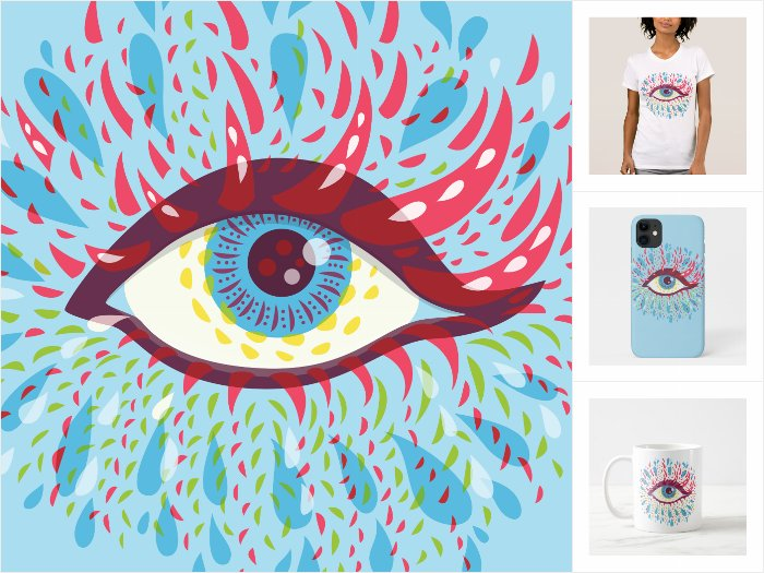 Blue Psychedelic Eye collection of fun products at Zazzle