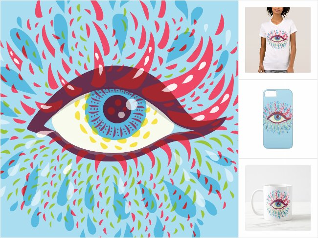 Zazzle collection with my psychedelic eye designs