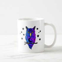Blue Psychedelic Pagan Owl Coffee Mug