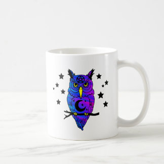 Blue Psychedelic Pagan Owl Classic White Coffee Mug