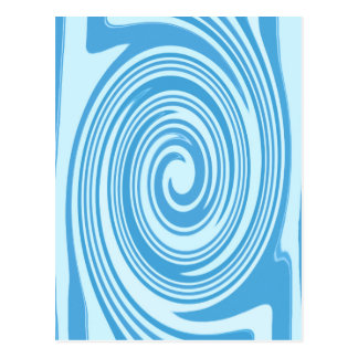 Blue psychedelic swirl pattern postcard