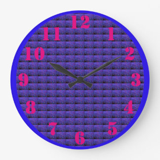 Blue Psychedelic Window Blinds Large Clock