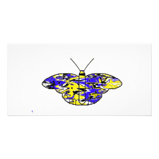 Blue Psychodelic Butterfly Photo Card Template