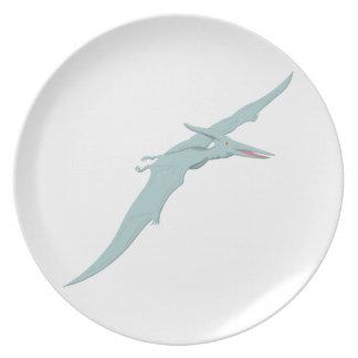 Blue Pterodactyl Dinosaur 4 Dinner Plate