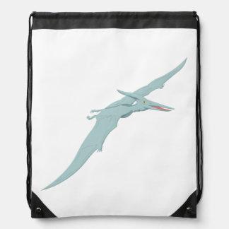 Blue Pterodactyl Dinosaur 4 Drawstring Bag