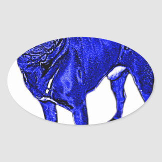Blue pug oval sticker