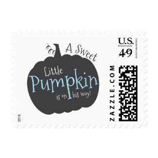 Blue Pumpkin Fall Baby Shower Stamps, Baby Boy Postage