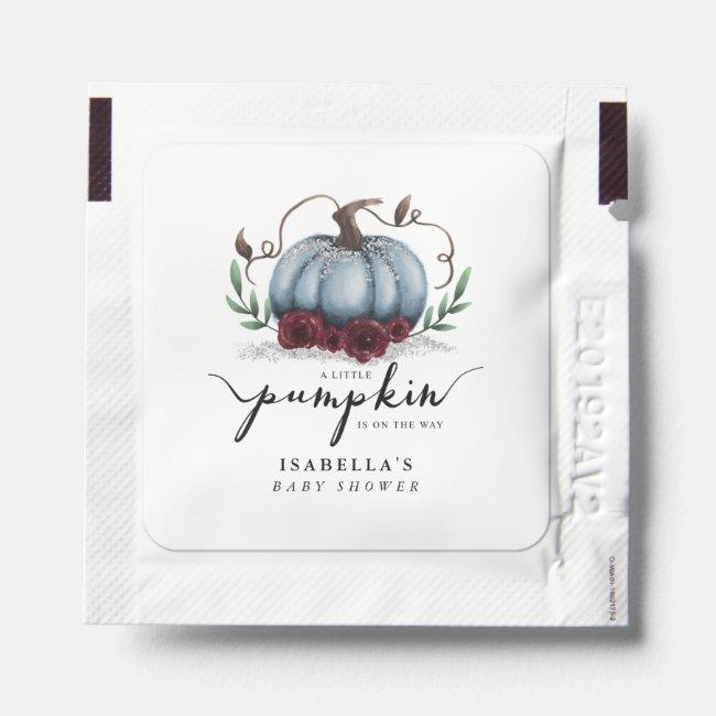 Blue Pumpkin Fall Floral Baby Shower Hand Sanitizer Packet